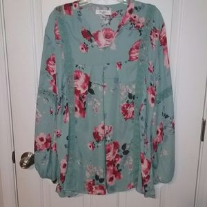 NWOT Light teal blouse with pink floral print
